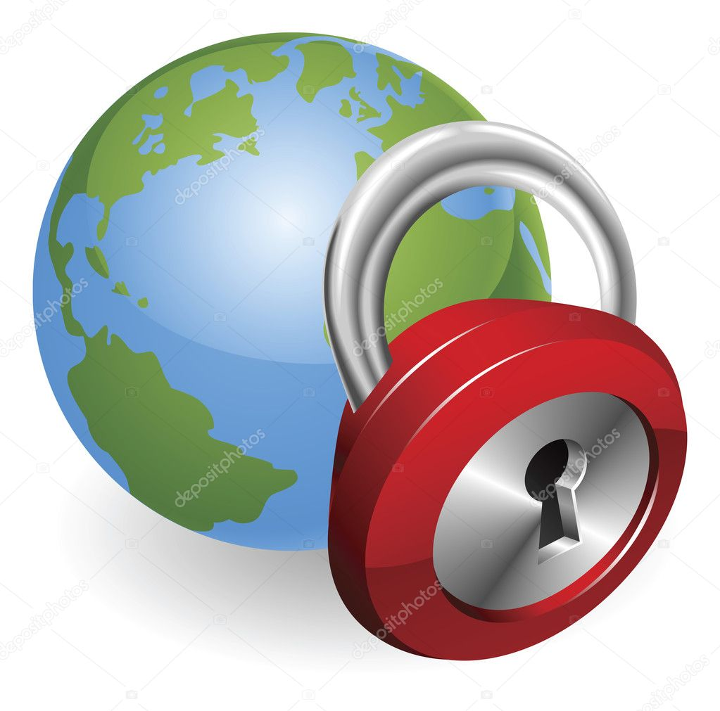 Lock and globe security concept illustration — Stock Vector #6860942