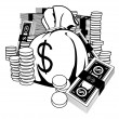 Stock Vector: Black and white illustration of cash