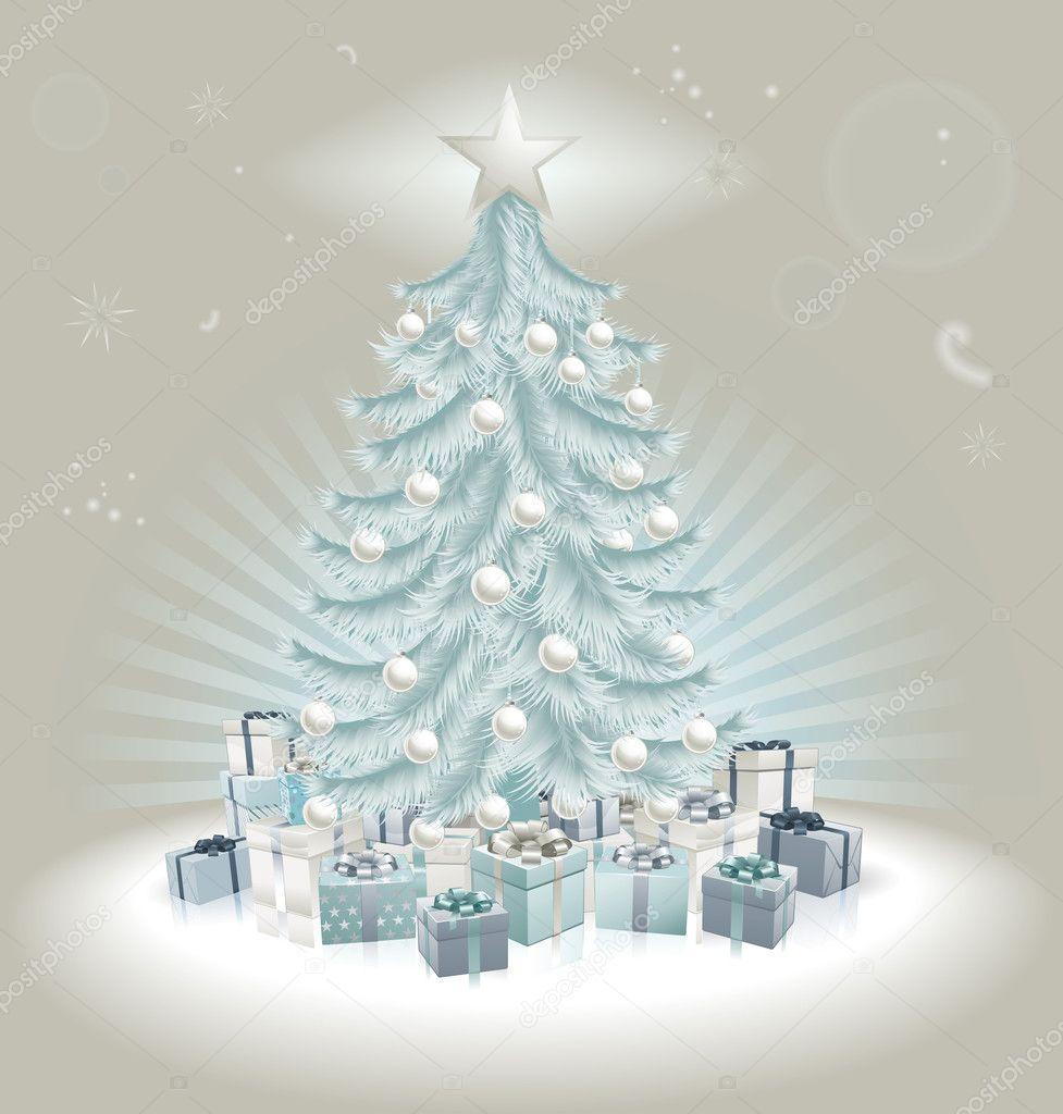decoracao de arvore de natal azul e prata:Blue and Silver Christmas Tree