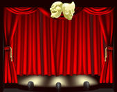 Theatre stage with masks — Stock Vector
