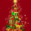 Royalty-Free Stock Vektorfiler: Christmas gift tree with red background