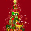 Royalty-Free Stock Obraz wektorowy: Christmas gift tree with red background