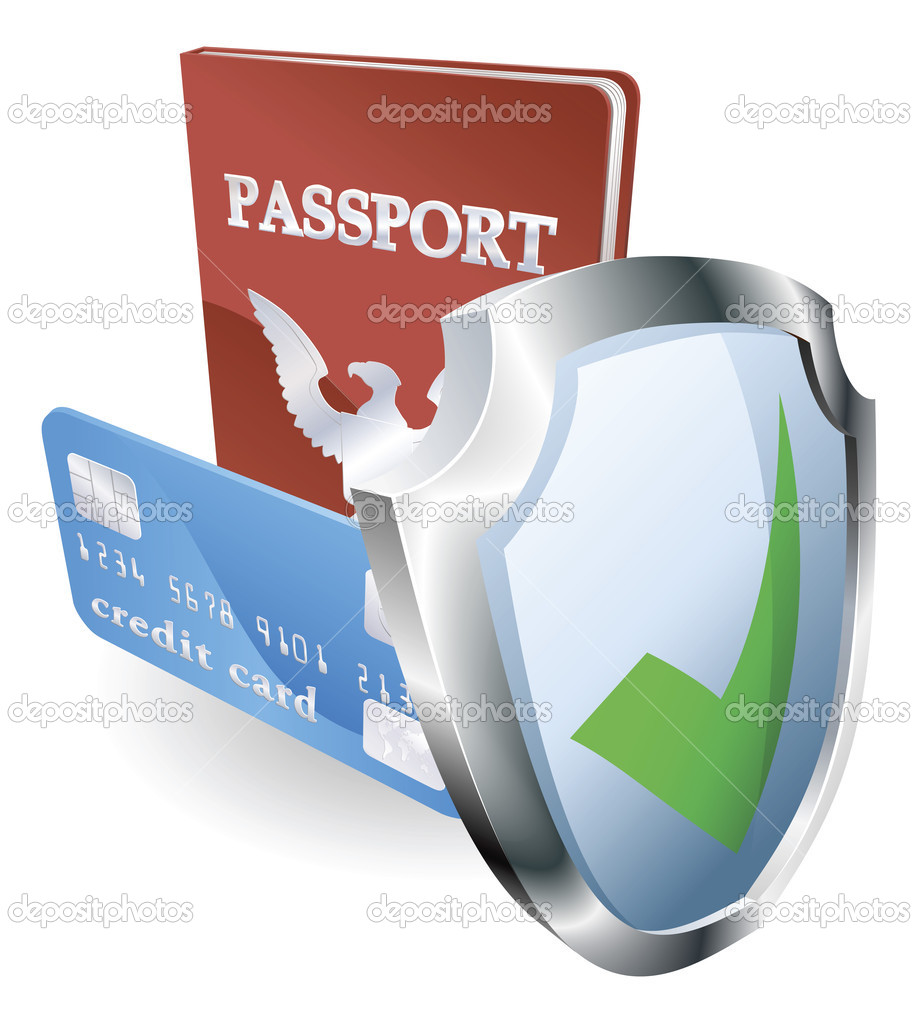 Personal identity documents with shield icon indicating they are protected, safe, secure or insured. — Stock Vector #7402055