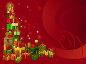 Röd jul gåva bakgrund — Stockvektor