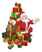 Santa sitting on a pile of gifts waving — Stock Vector