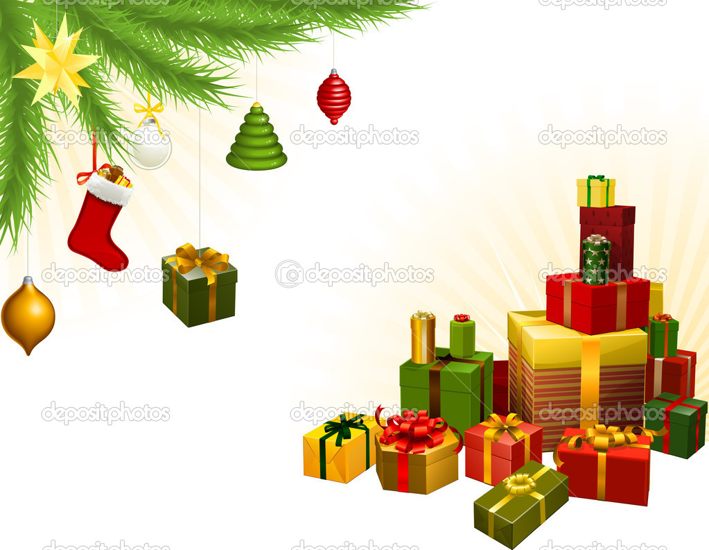 Christmas corner background elements. Christmas tree, balls and gifts. Corners can be moved for more space in centre  Stock Vector #7543965
