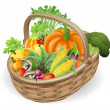 Basket fresh vegetables — Stock Vector
