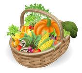 Basket fresh vegetables — Stock Vector