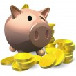 Piggy bank with gold coins illustration — Stock Vector #7584812