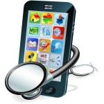 Cell phone health check concept — Stock Vector