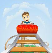 Aterrador viaje en montaña rusa — Vector de stock