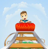 Scary ride on rollercoaster — Stock Vector