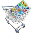 Phone in shopping cart — Stock Vector
