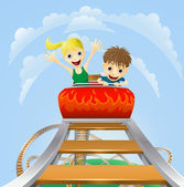 Thrilling roller coaster ride — Stock Vector