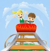 Thrilling roller coaster ride — Stock Vector
