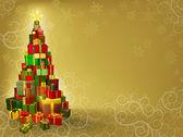 プレゼント ツリーとクリスマスの背景 — ストックベクタ