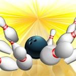 Bowling ball strike — Stock Vector