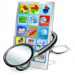 Royalty-Free Stock Vector Image: Smart phone or tablet pc health check concept