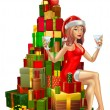 Stock Vector: Woman Santa on stack of gifts
