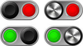 Toggle switches with green and red lights — Stock Vector