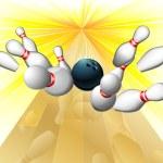 Bowling ball hitting pins — Stock Vector