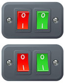 Red and green switches — Stock Vector