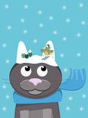 Snow-cat with skiing Bird — Stock Vector