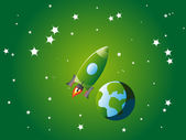 Green Spaceship exploring the outterspace — Stock Vector