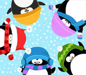Penguins Celebrating Snow — Stock Vector
