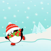 Ice Skating Penguin — Stock Vector