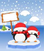 Penguin's Christmas Message — Stock Vector