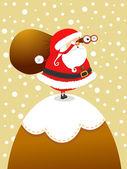 Santa On the Mountain — Stock Vector