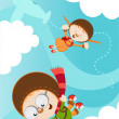 Skydiving Kids — Stock Vector