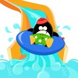 Penguin On Water Slide — Stock Vector