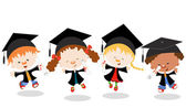 Graduated Kids — Stock Vector