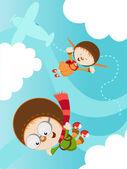 Skydiving Kids — Stock Vector
