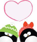 Carta di amore pinguino — Vettoriale Stock