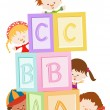 Children Playing With Blocks — Stock Vector