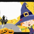 Stock vektor: Witch Girl's Halloween Message