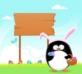 Easter Penguin With Billboard — Stock Vector