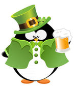 St. Patrick's Day Penguin with beer — Stock Vector