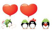 Penguin Love Set — Stock Vector