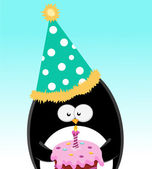 Penguin With Birthday Cake — Stock Vector