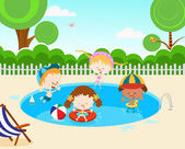 Kids In The Swimming Pool — Stock Vector