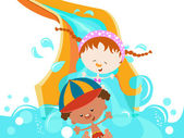 Kids on Water Slide — Stock Vector