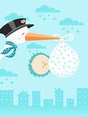 Stork Delivering A Newborn Boy — Stock Vector