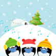 Stock Vector: Caroler Penguins