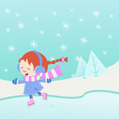 Ice Skating Girl — Vector de stock