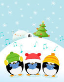 Caroler Penguins — Stock Vector