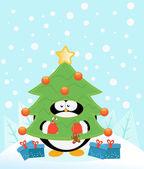 ツリーの衣装とペンギン — ストックベクタ